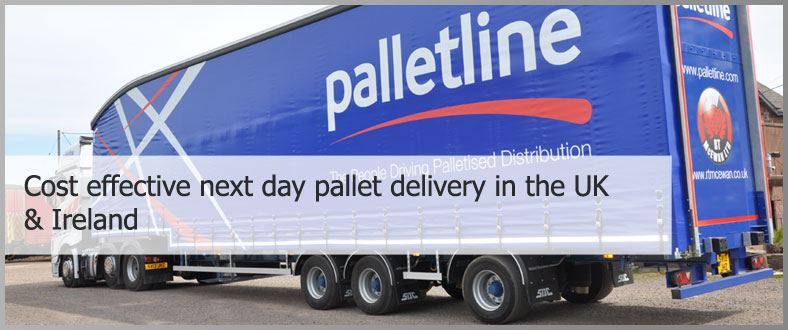 side view of RT McEwan lorry with Palletline branding